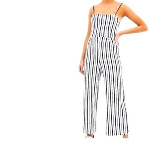 Bershka small striped white and blue jumpsuit
